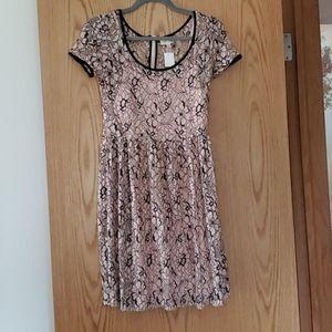 Maison Jules Blush Pink and Navy Lace Dress